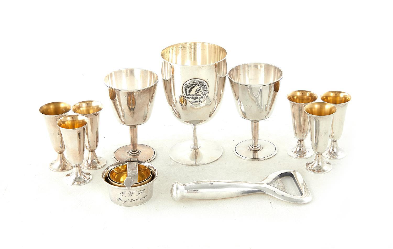 Tiffany & Co silver drinking vessels and bottle opener (11pcs)