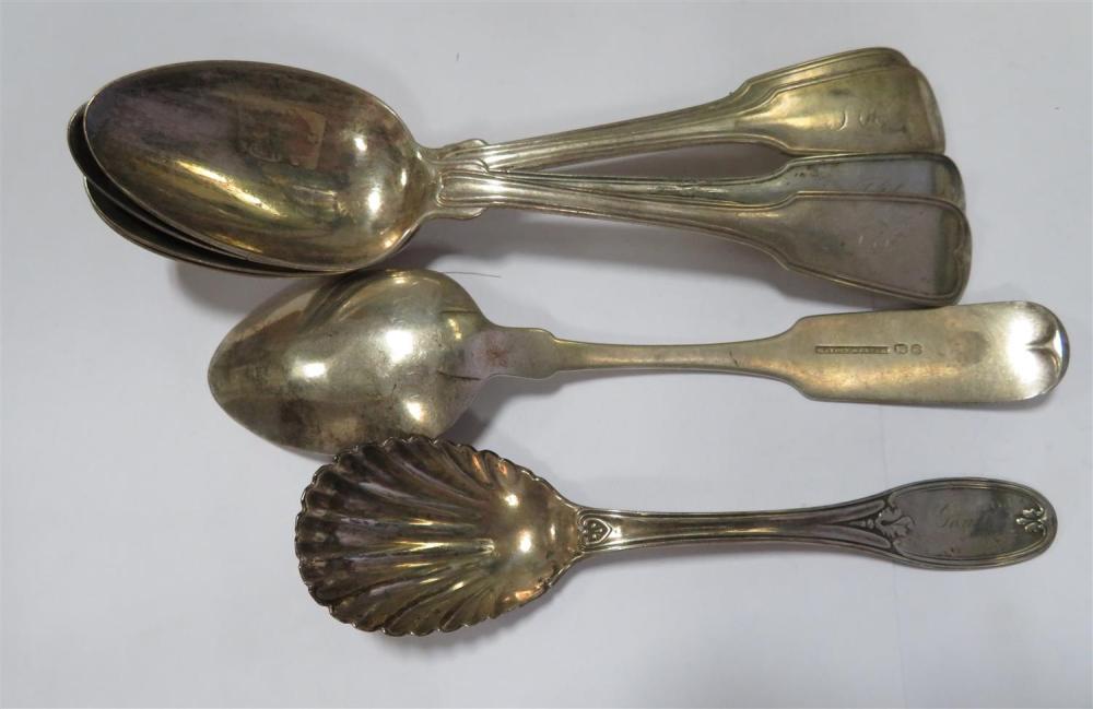 South Carolina coin silver spoons and sugar shell (7pcs)