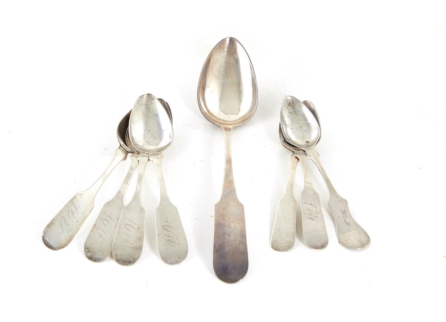 Southern coin silver spoons, New Orleans & Kentucky (8pcs)