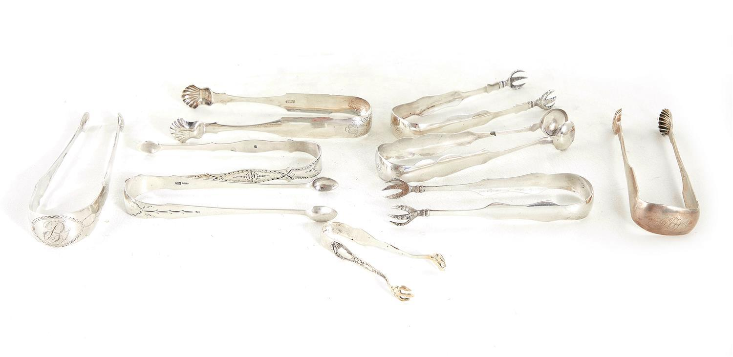 American coin silver tongs (9pcs)