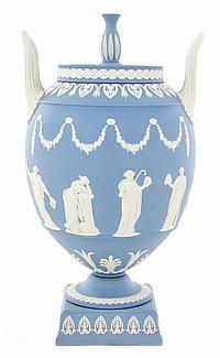 Wedgwood blue jasper covered urn