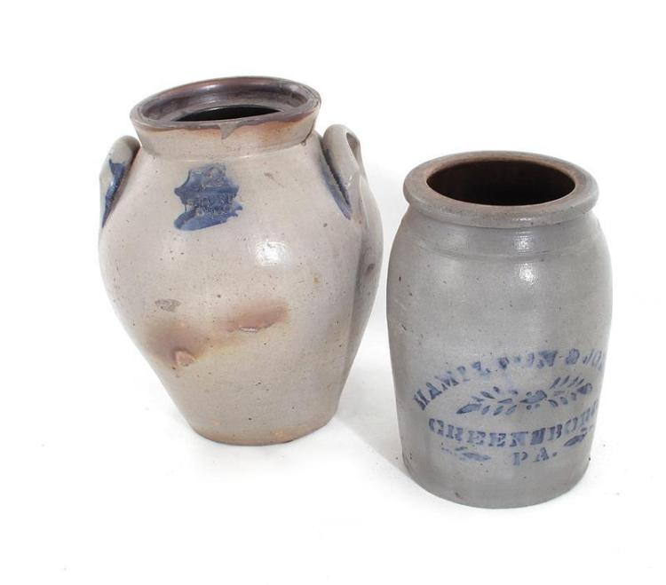 Blue-decorated stoneware canning and storage jars (2pcs)