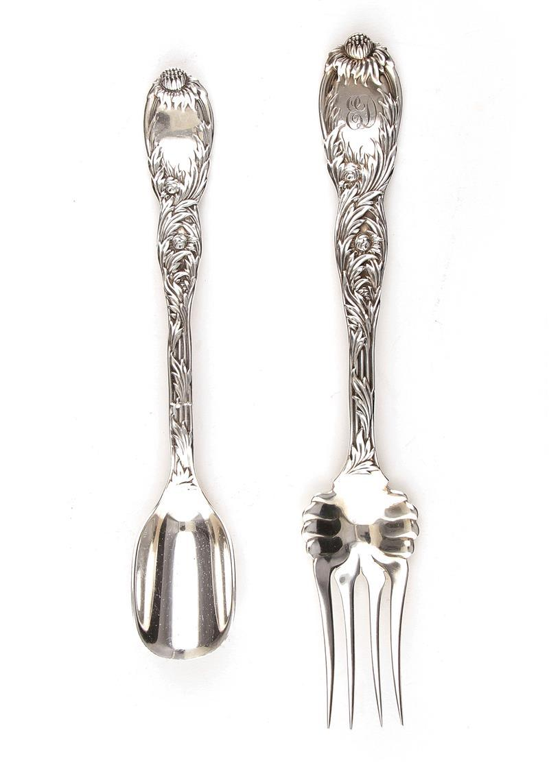 Tiffany & Co Chysanthemum pattern silver meat fork and cheese scoop (2pcs)