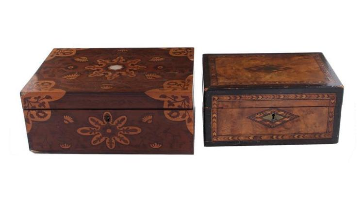 English inlaid mahogany lady's boxes (2pcs)