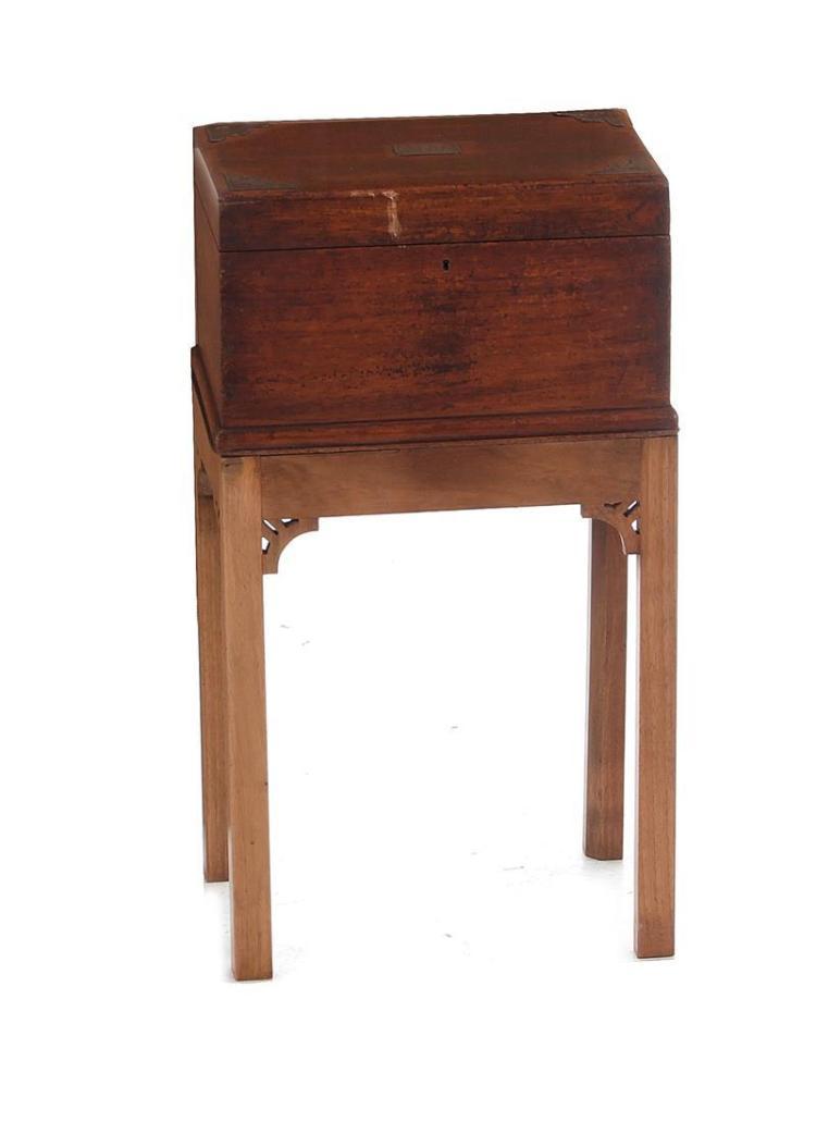 English silver-mounted mahogany box on stand