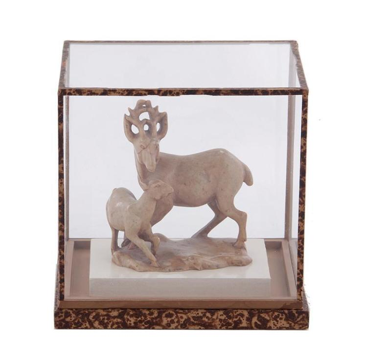 Chinese carved soapstone deer and fawn figure