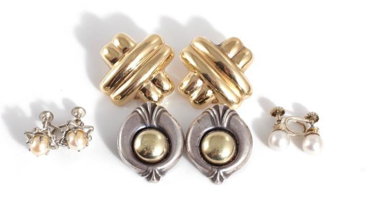 Gold, silver and pearl ear clips (8pcs)