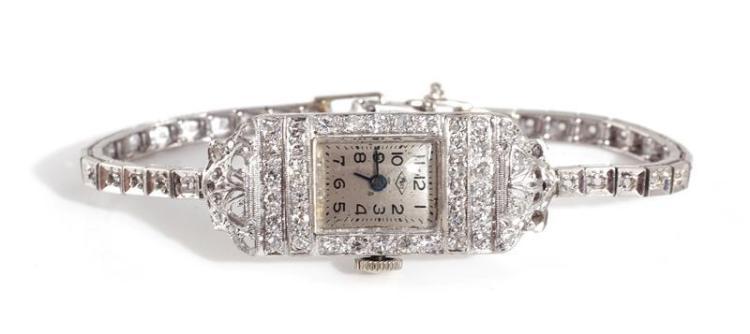 Vintage platinum and diamond lady's wristwatch, Pery Watch Co.