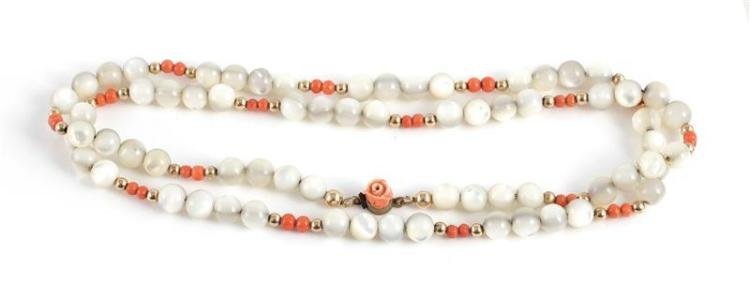 Moonstone and coral bead necklace