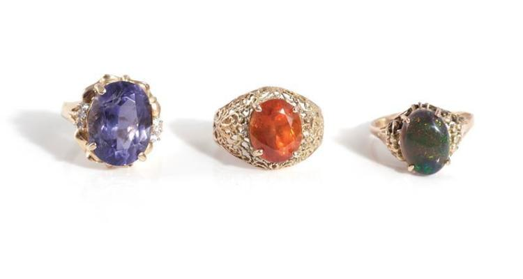 Gemstone and gold rings (3pcs)