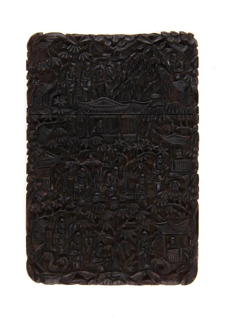 Chinese Export carved shell card case