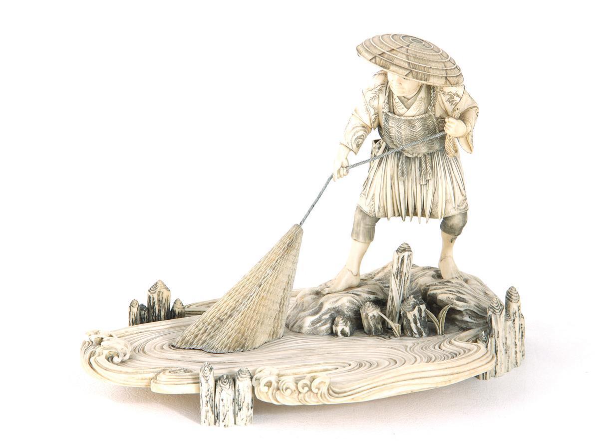 Fine Japanese ivory fisherman okimono, signed
