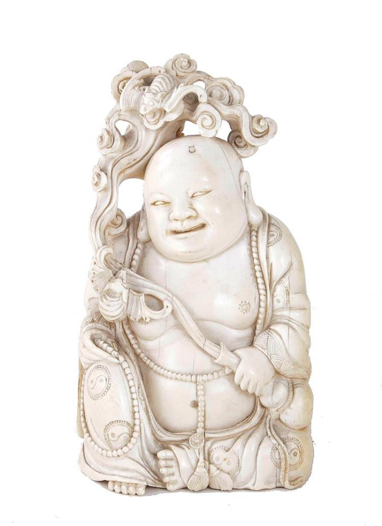 Chinese carved ivory Buddha with bat