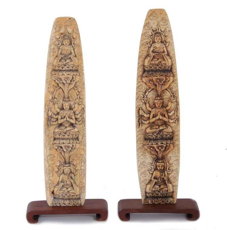 Pair Asian pictorial carved ivory panels (4pcs)