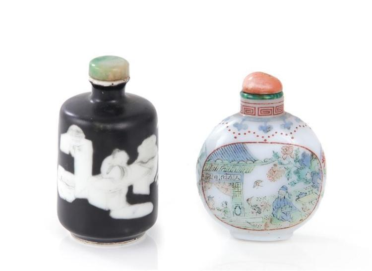 Chinese painted glass and porcelain snuff bottles (2pcs)