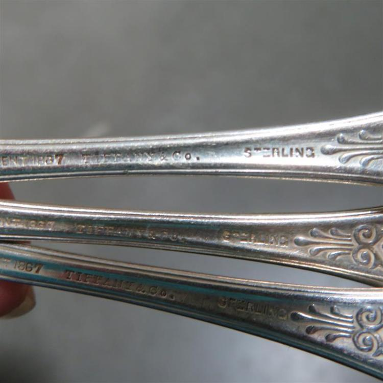 Tiffany & Co silver serving fork and teaspoons (4pcs)
