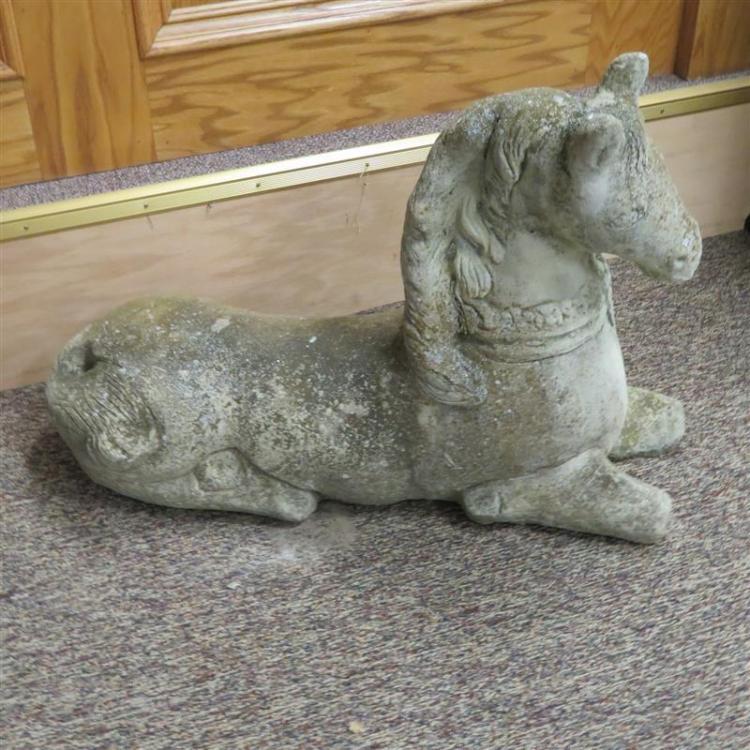 Pair English cast-stone recumbent horse garden figures (2pcs)