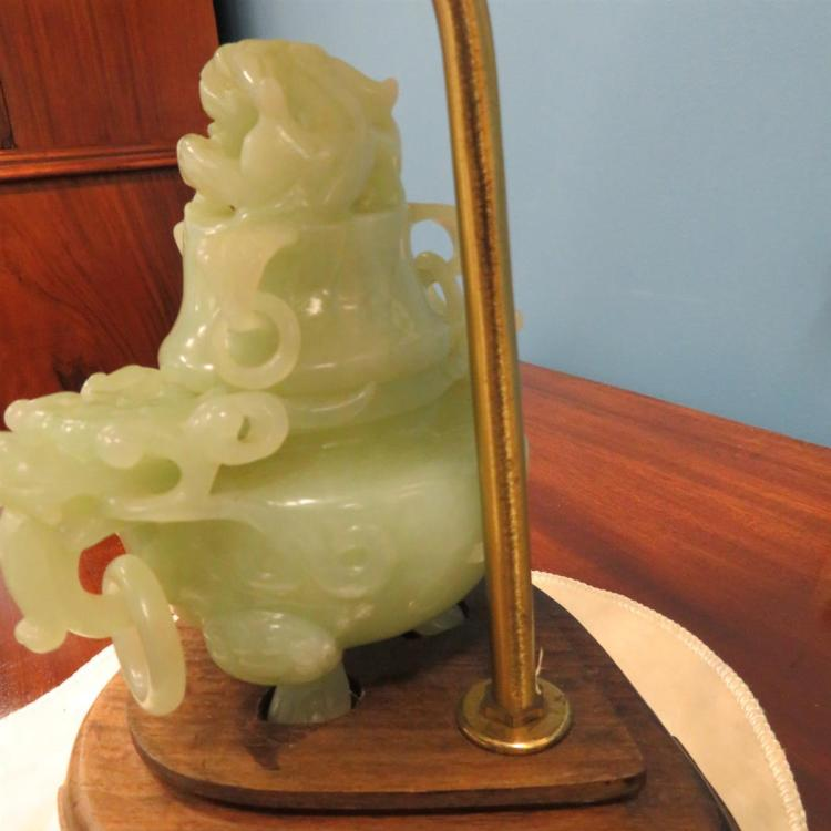 Chinese carved jade covered urn, converted to lamp