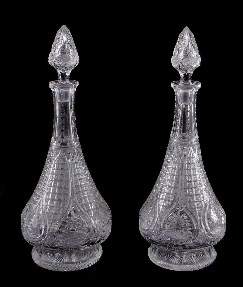 Pair cut-crystal decanters