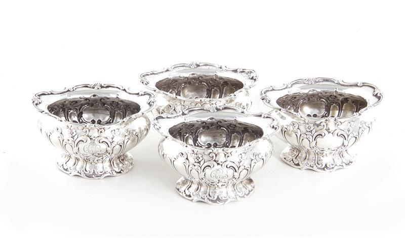 Gorham Chantilly silver salt cellar set (4pcs)