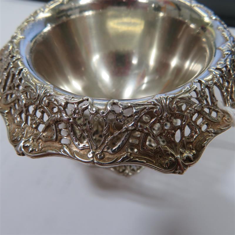 Gorham reticulated silver salt cellar set (6pcs)