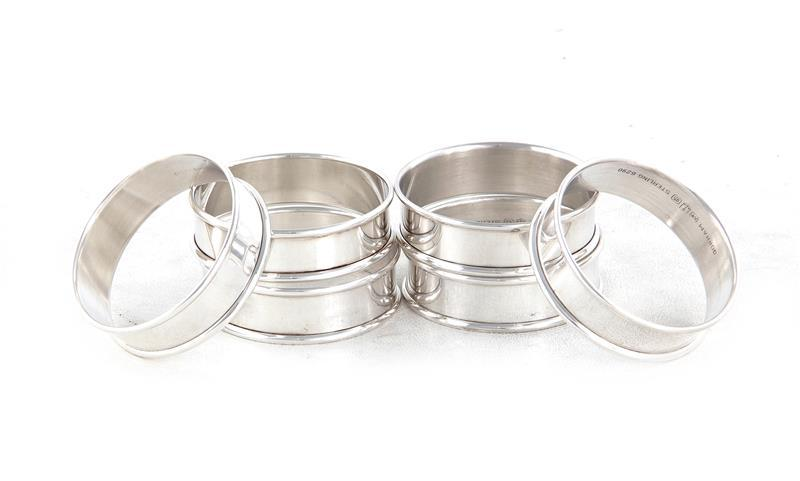 Gorham silver napkin ring set (6pcs)