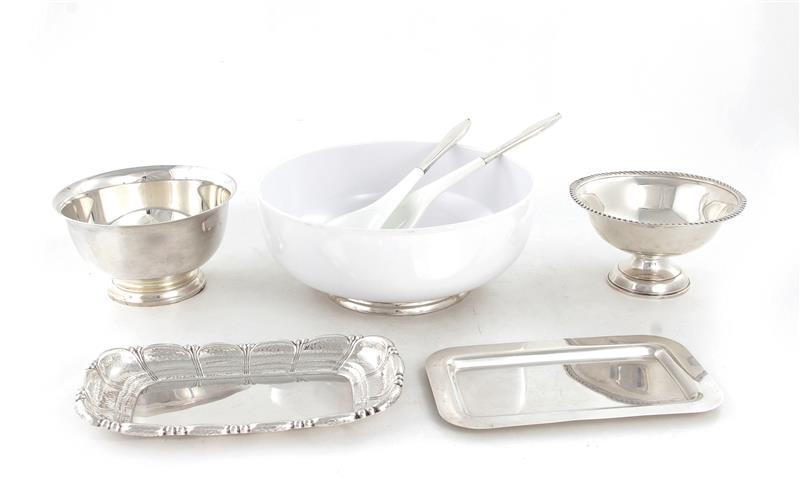 American silver bowl, trays and serving set (7pcs)