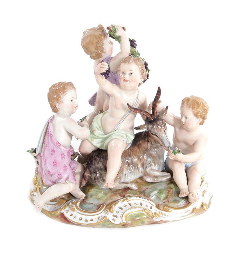 Meissen porcelain Bacchanalian figural group with goat