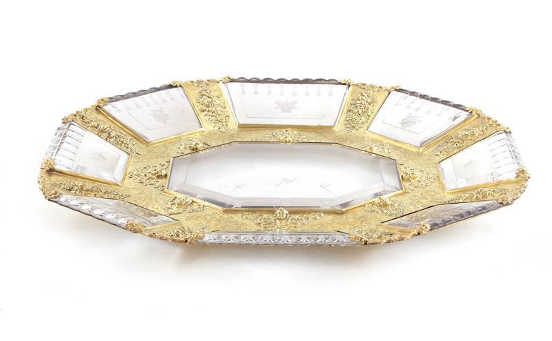 Fine French silver-gilt and etched crystal tray