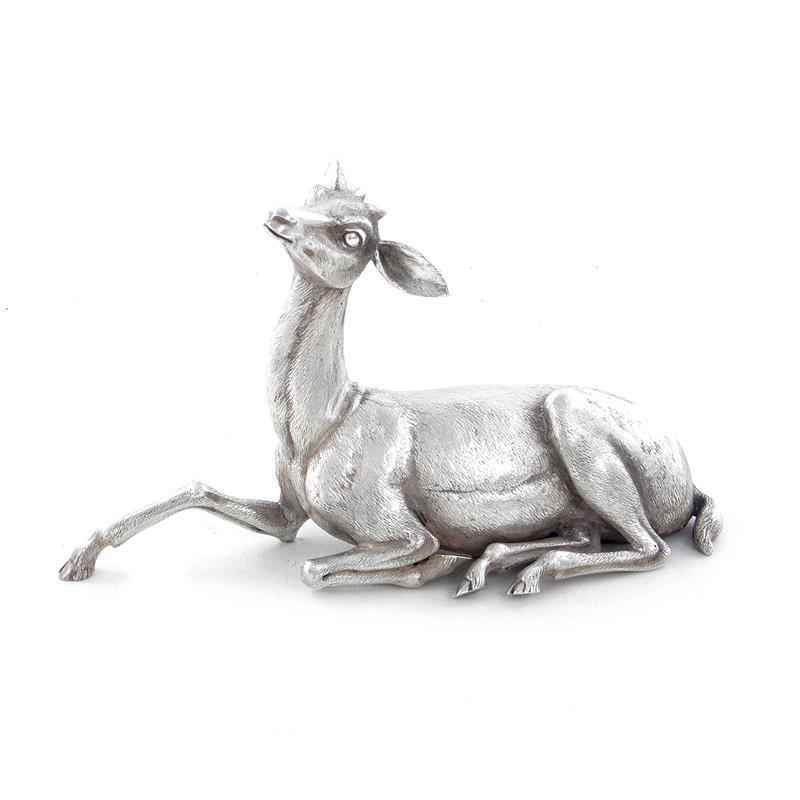 Italian silver doe sculpture