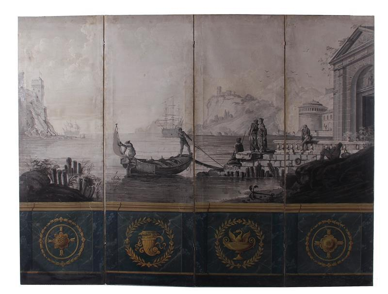 French scenic four-panel screen