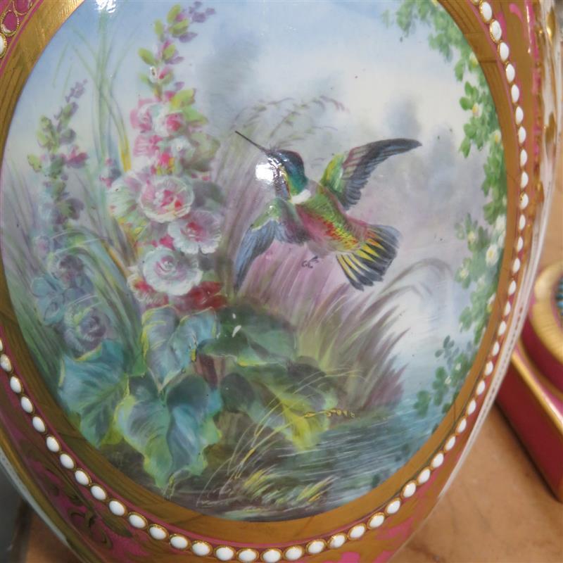 Fine pair Sevres porcelain pink-ground urns (2pcs)