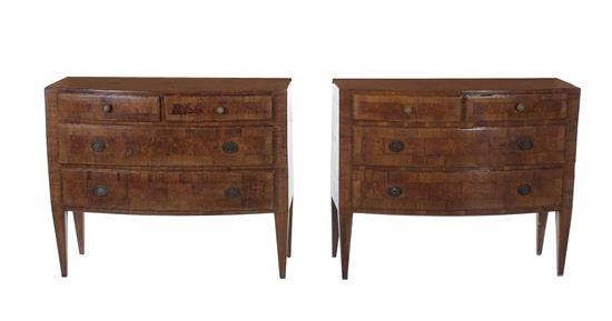 Pair Italian walnut bowfront commodes (2pcs)