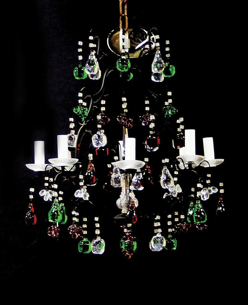Continental colored crystal and wrought-metal eight-light chandelier