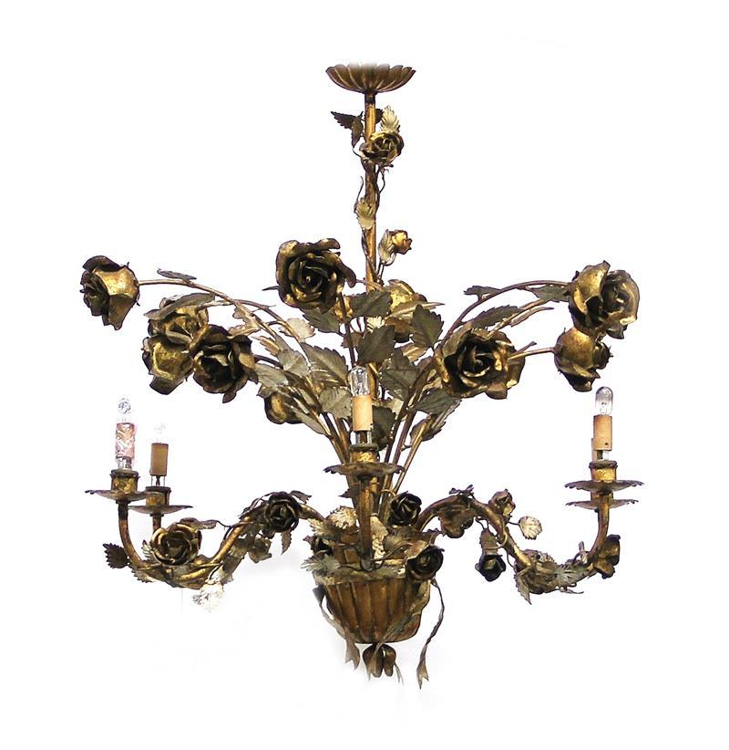 Continental leaf-and-floral design six-light wrought-metal chandelier