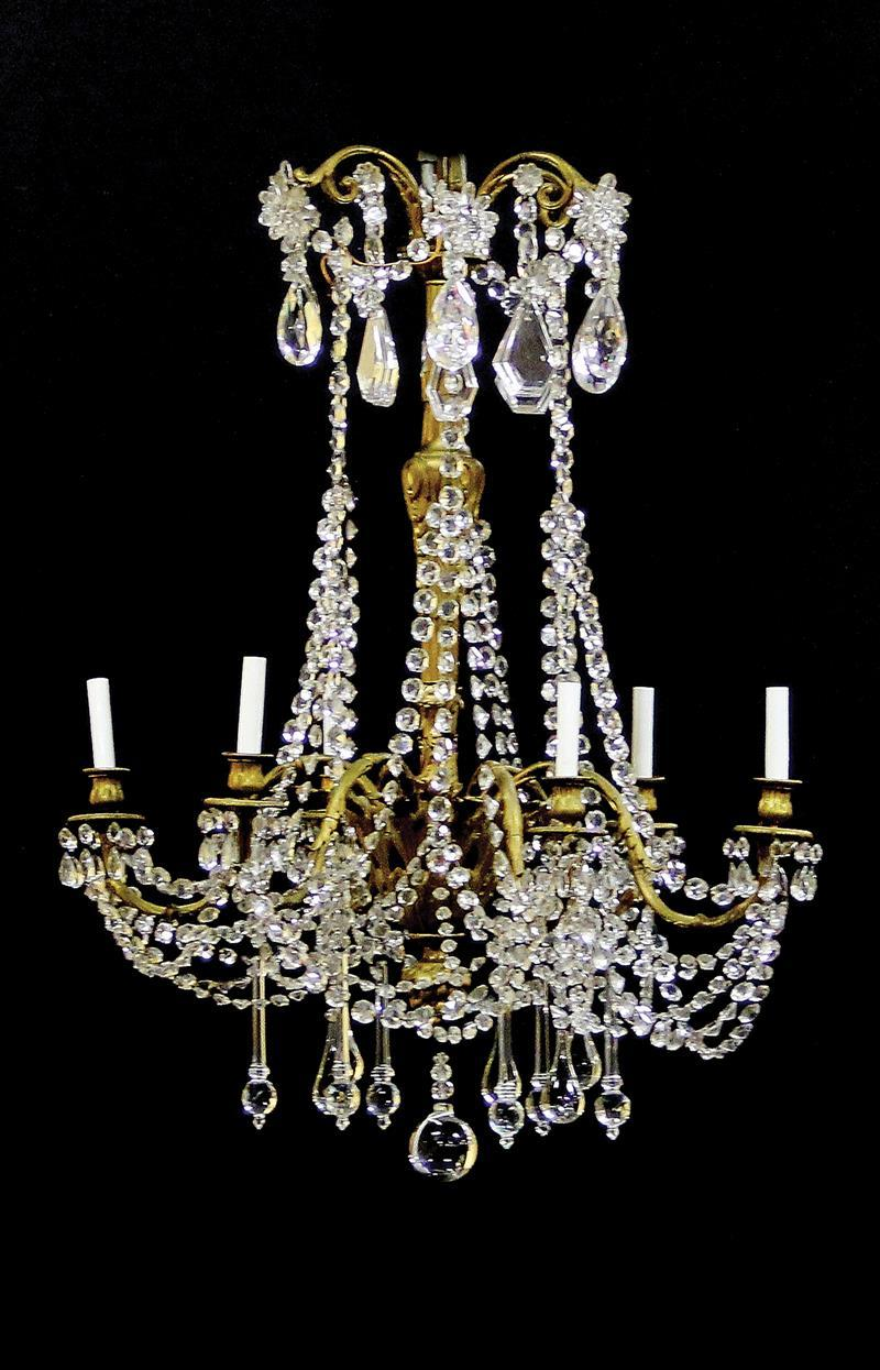 French gilt-bronze and crystal six-light chandelier