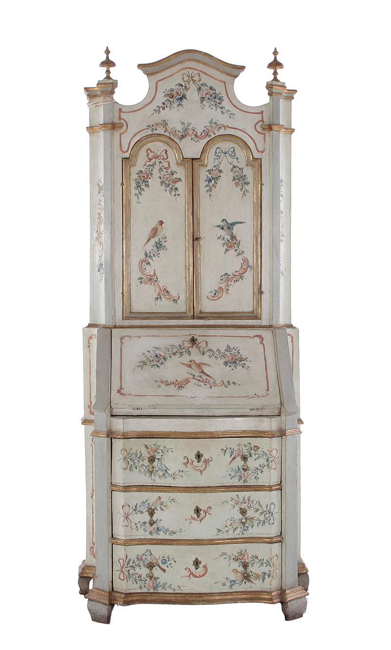 Italian painted secretary bookcase