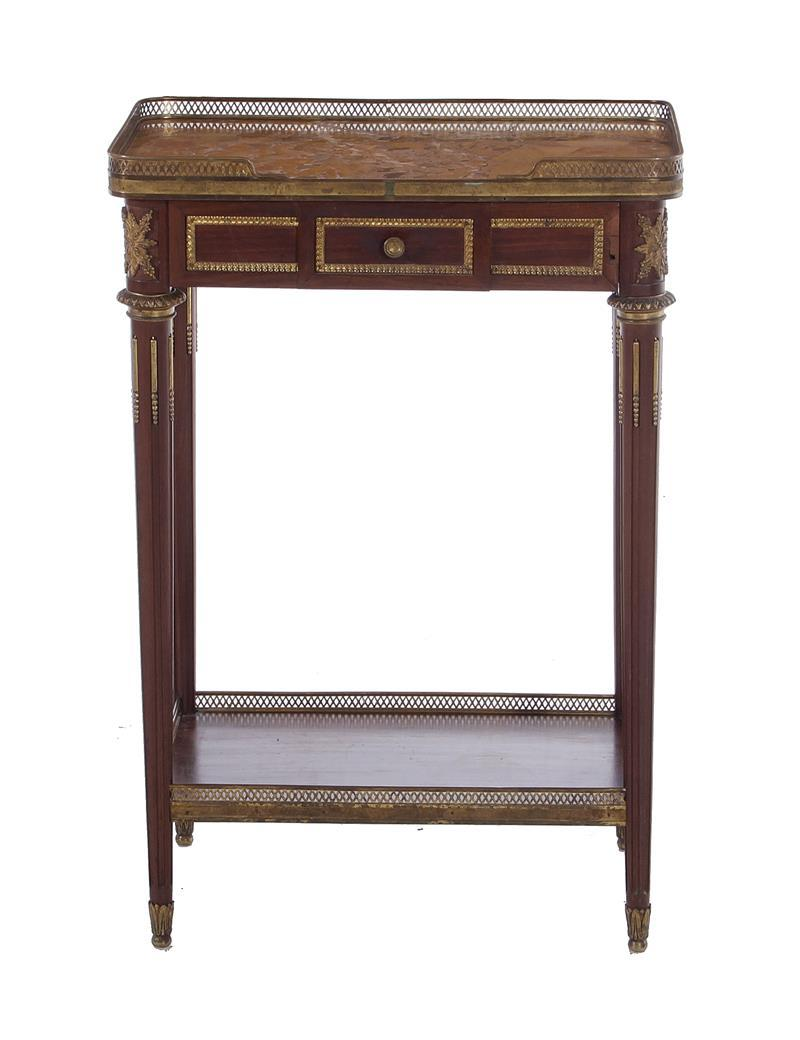 Louis XVI style mahogany, marble and bronze-mounted table ambulante