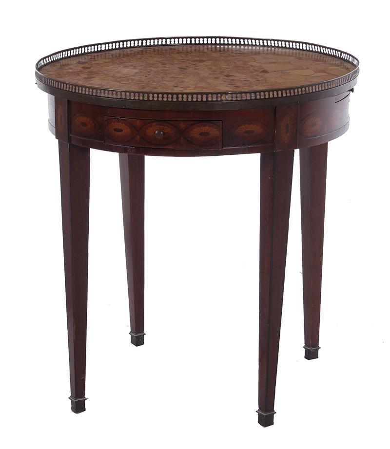 Louis XVI style inlaid mahogany gueridon