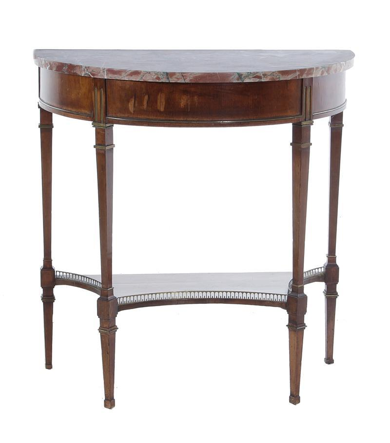 Louis XVI style mahogany and marble D-shape console table