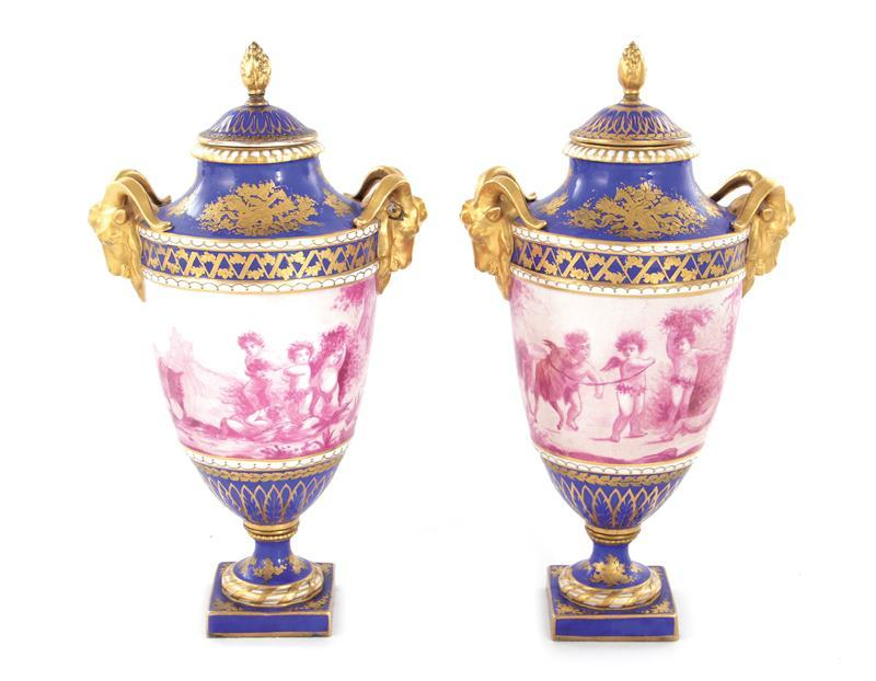 Pair Sevres style porcelain urns with covers (2pcs)