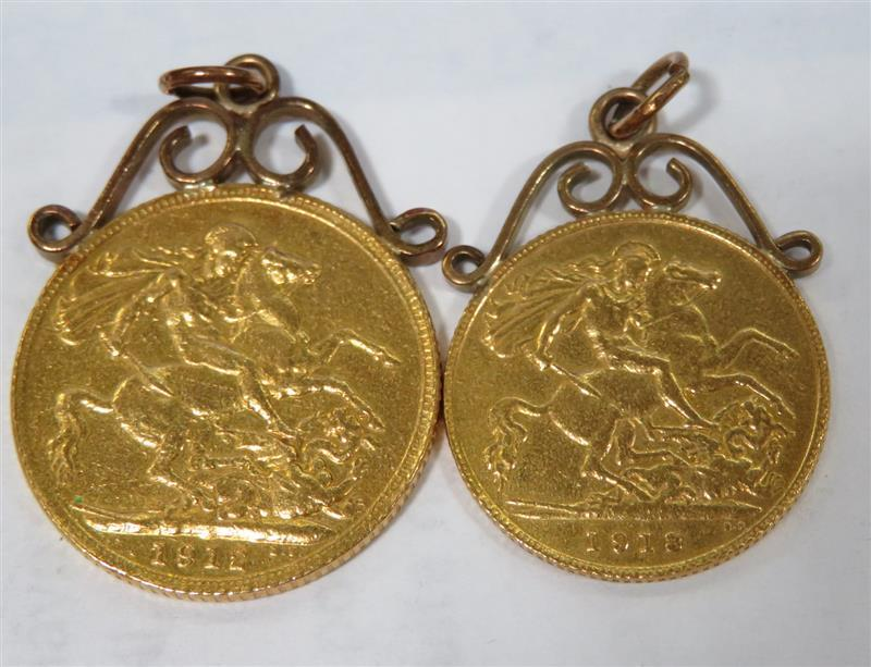 George V gold sovereigns, converted to pendants (2pcs)