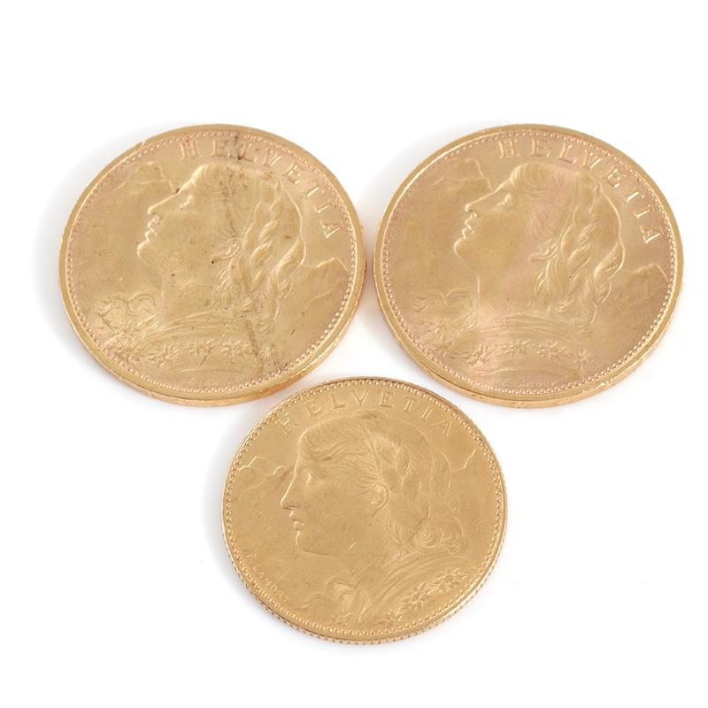 Swiss 20 and 10 Franc gold bullion coins (3pcs)