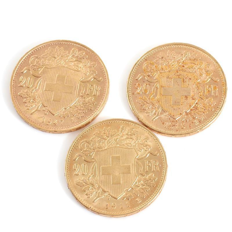 Swiss 20 Franc gold bullion coins (3pcs)