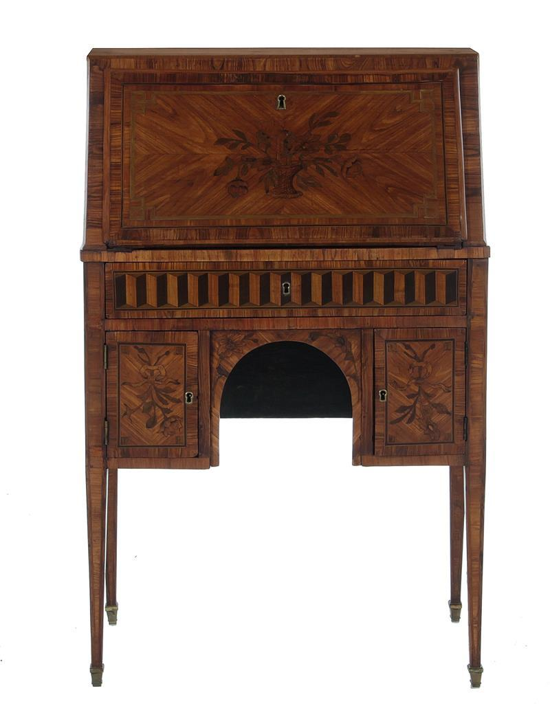 Diminutive Napoleon III marquetry-inlaid kingwood writing desk