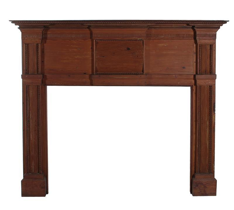 American carved pine fireplace surround, probably Virginia