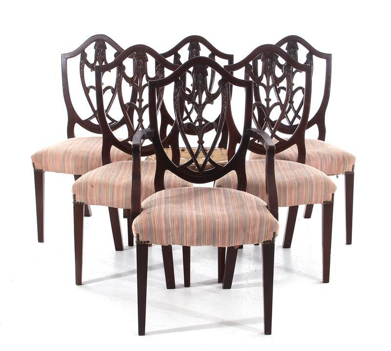 Sheraton carved mahogany dining chairs (6pcs)