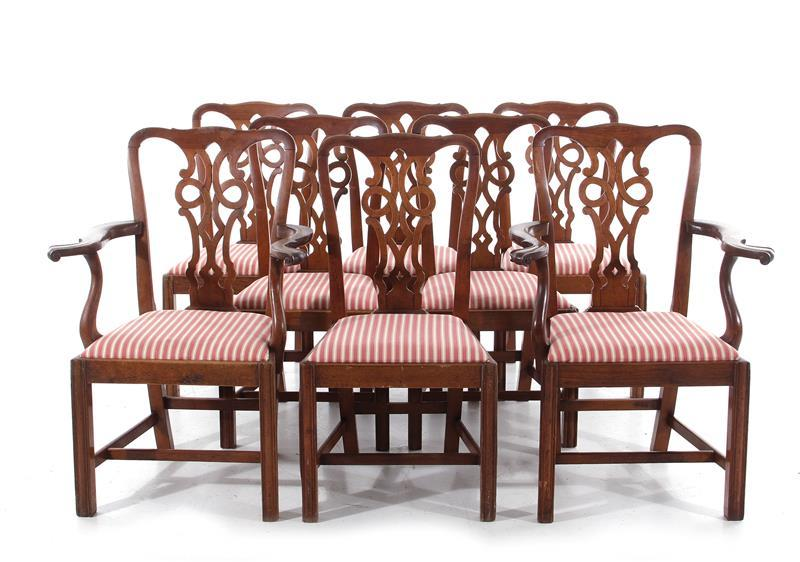 Chinese Chippendale style carved mahogany dining chairs (8pcs)