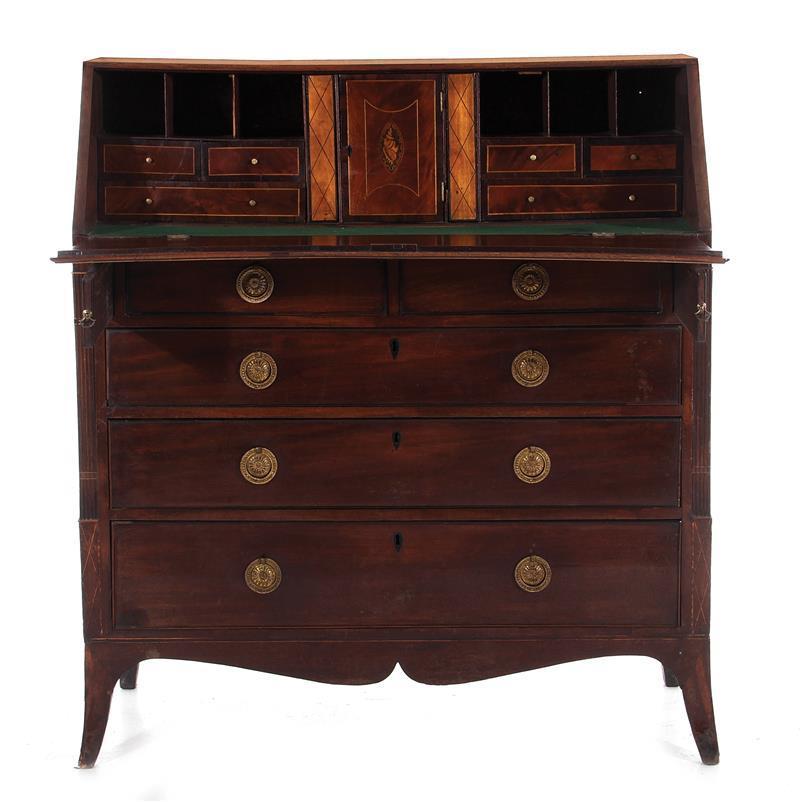 English inlaid mahogany slant-front desk