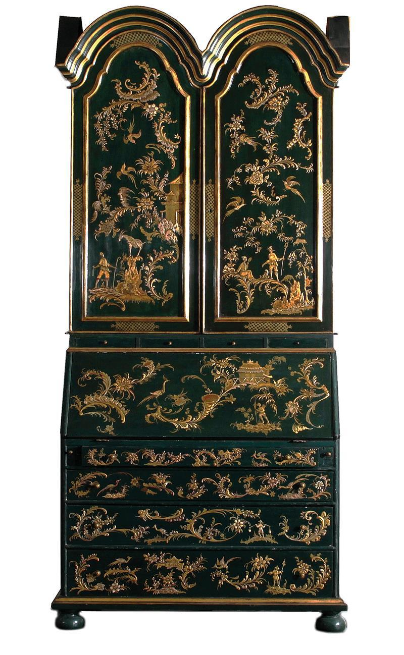Queen Anne style chinoiserie and lacquer secretary bookcase